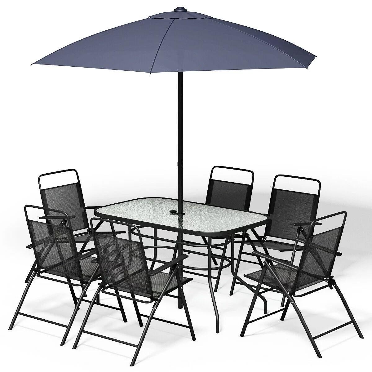 8pcs patio garden set furniture 6 folding chairs table with umbrella gray new walmart com