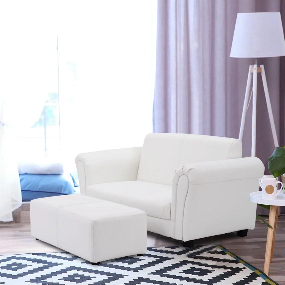 Kids Sofa Armrest Chair Couch Lounge Children Birthday Gift W Ottoman White Walmart Canada
