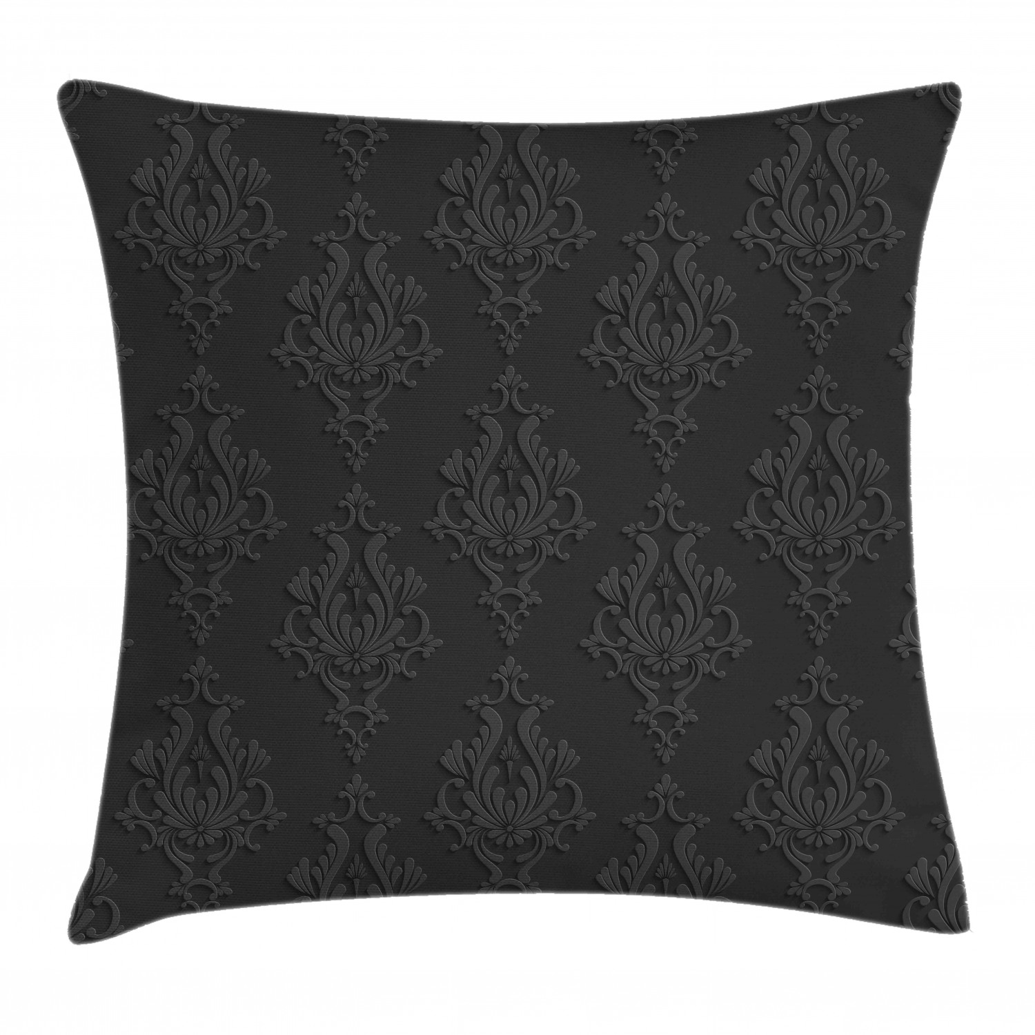 dark grey throw pillow cushion cover antique damask pattern in 3d style classic old fashioned floral design decorative square accent pillow case 24