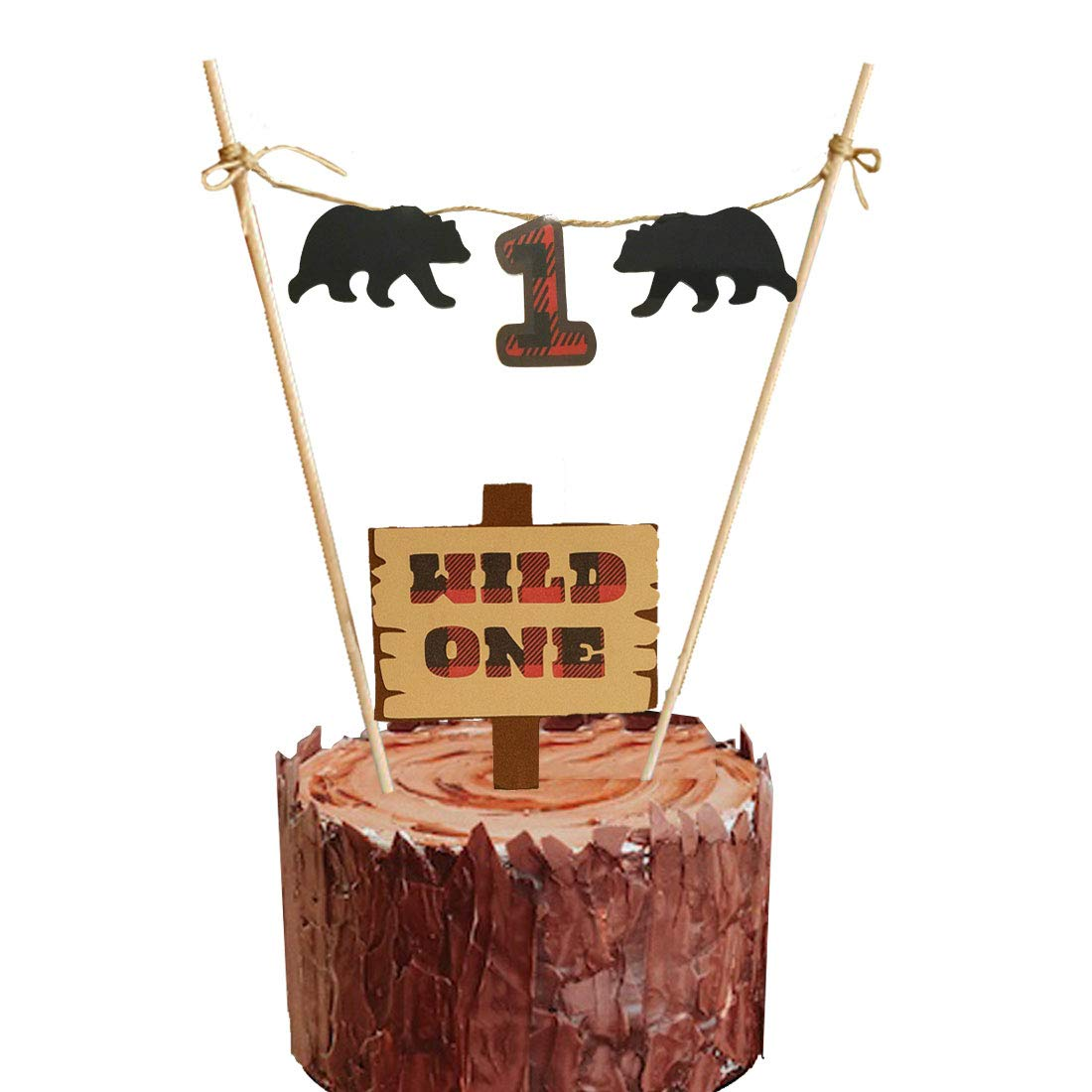 lumberjack first birthday wild one cake topper party supplies decorations christmas buffalo plaid camping wild bear 1st birthday party high chair baby
