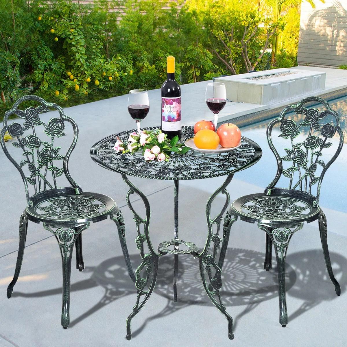 costway rose design cast aluminum outdoor 3 piece outdoor bistro set antique green walmart com