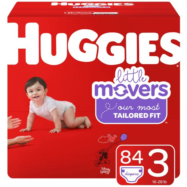 Huggies Little Movers Baby Diapers, Size 3, 84 Ct, Giga Jr Pack