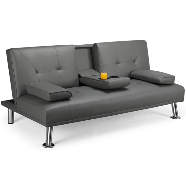 luxurygoods modern faux leather reclining futon with cupholders and pillows gray