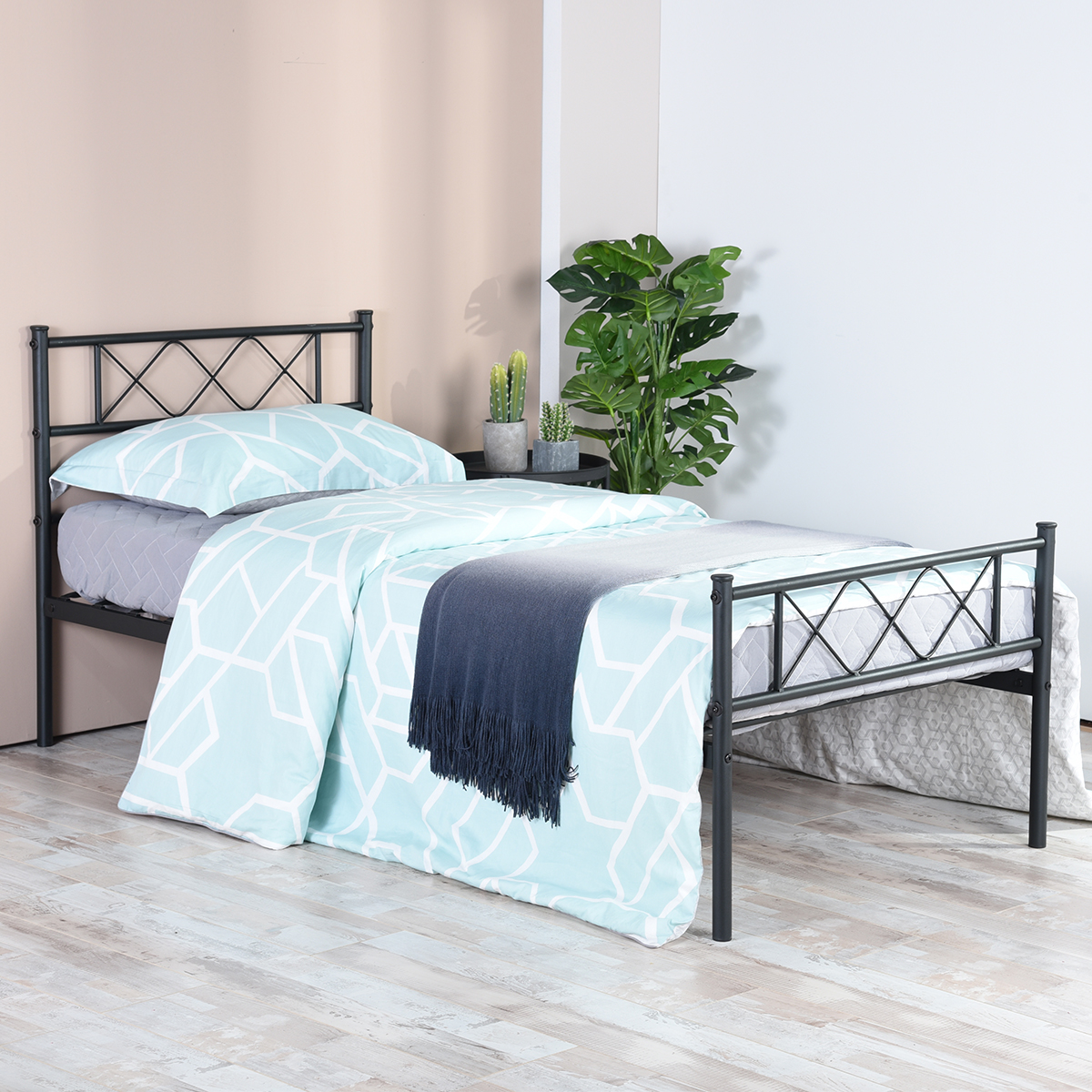 easy set up premium metal bed frame platform box spring replacement with headboard footboard