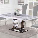 Marble Top Stainless Steel Base Dining Table Walmart Com Walmart Com