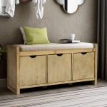 Home Use Storage Bench Storage Footstool With 3 Storage Cubbies Entryway Living Room Bench With Removable Cushion Versatile Storage Cabinet With Wood Frame And Support Legs Gray Wash Y1842 Walmart Com