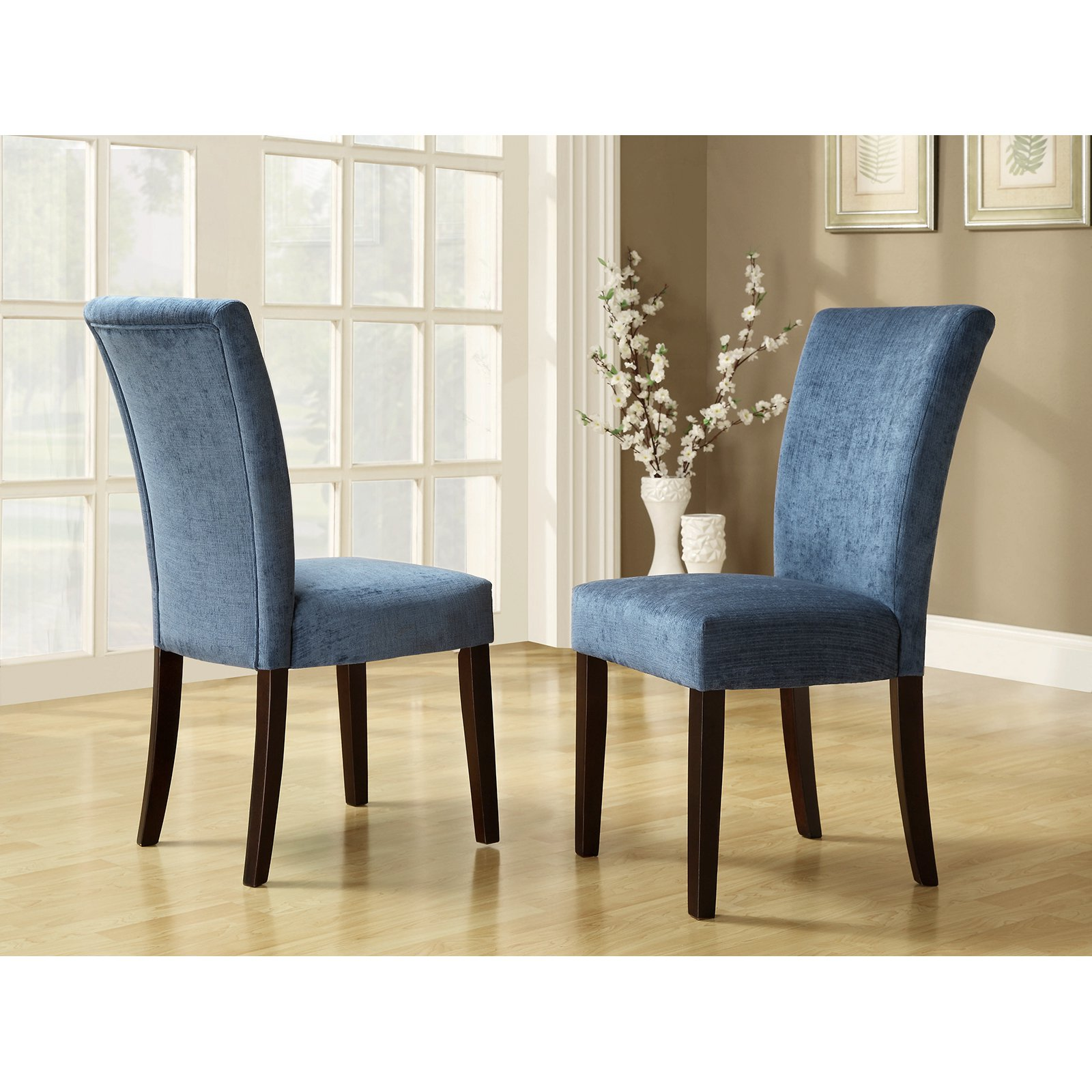 Homelegance Royal Blue Chenille Parson Chairs Espresso Set Of 2