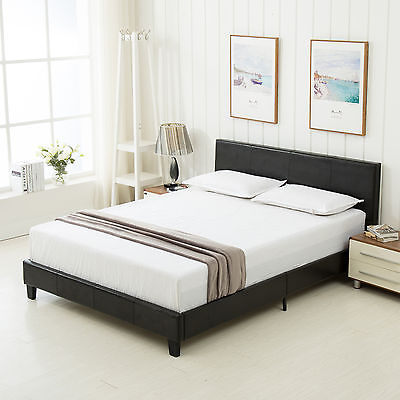 bed frame mecor slats upholstered headboard bedroom faux leather full size black
