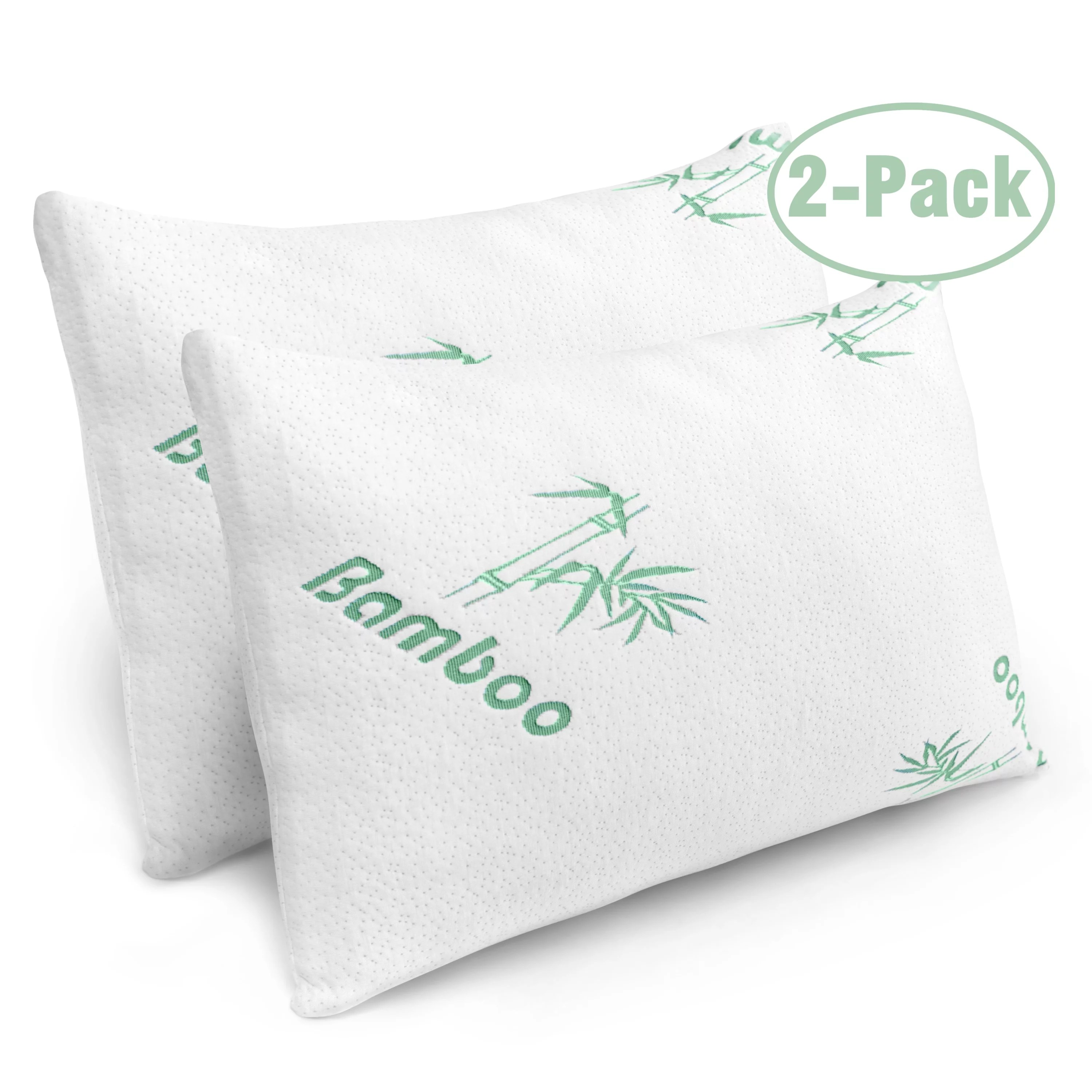 2 pack plixio shredded memory foam pillow with cooling hypoallergenic cover queen size bed pillows for sleeping