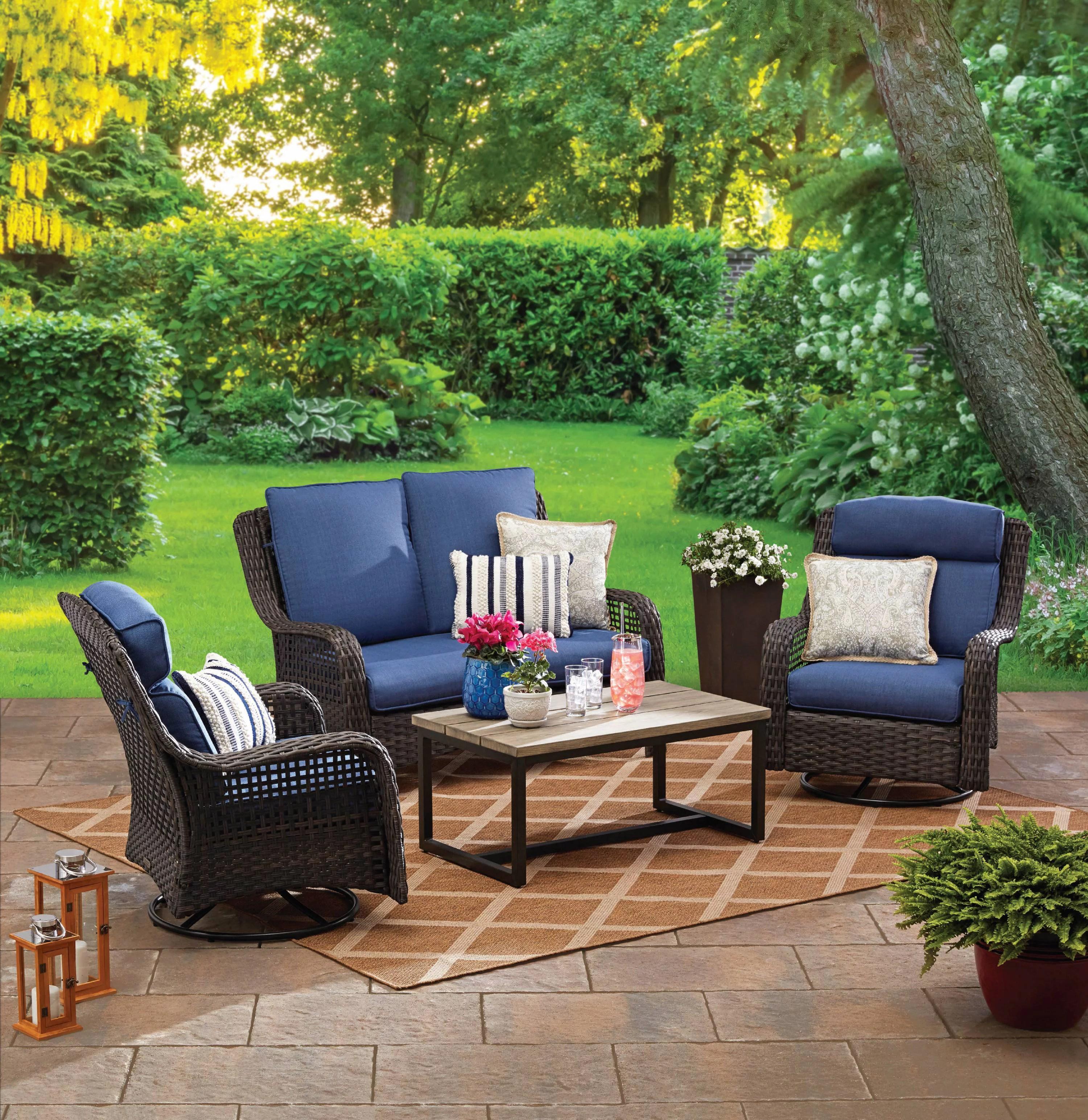 better homes gardens ravenbrooke 4 piece patio furniture conversation set wicker with swivel chairs walmart com