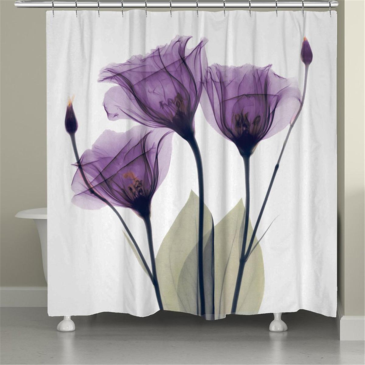 tulip shower curtain set with12 hooks shower curtains for bathroom fabric farmhouse shower curtain waterproof flower bathroom decor polyester bath
