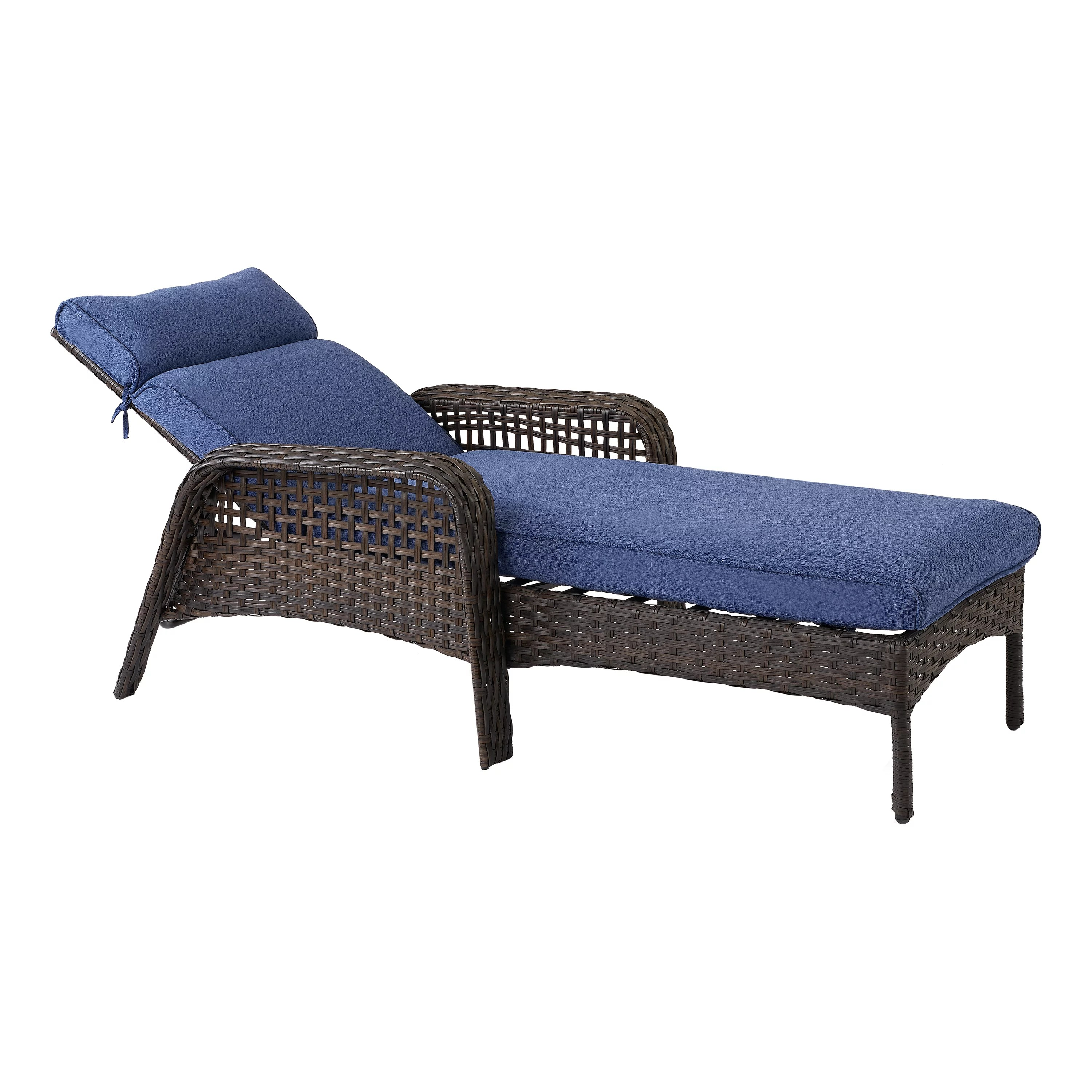 better homes gardens ravenbrooke patio chaise lounge chair with blue cushions