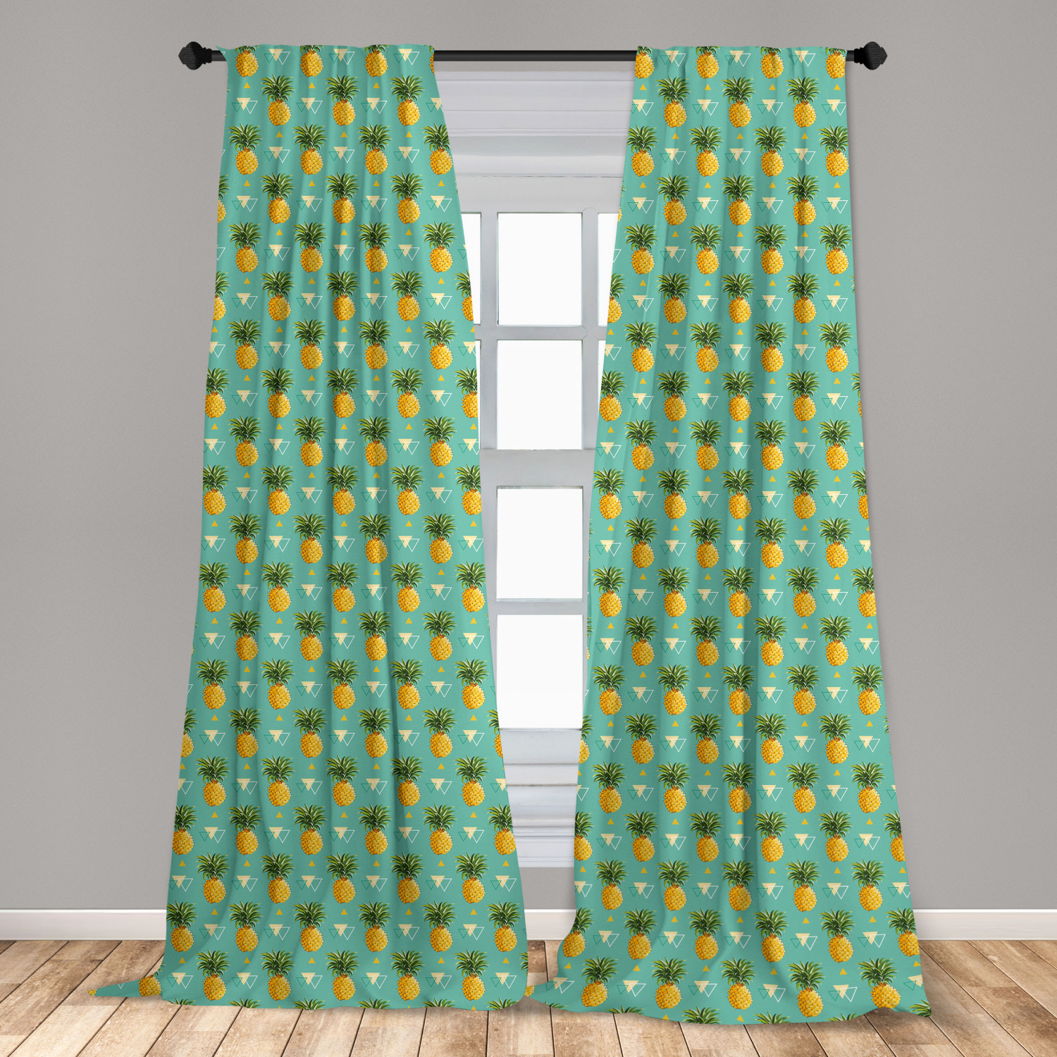 pineapple curtains 2 panels set geometric hipster design tropical climate fruits pattern retro summer window drapes for living room bedroom orange