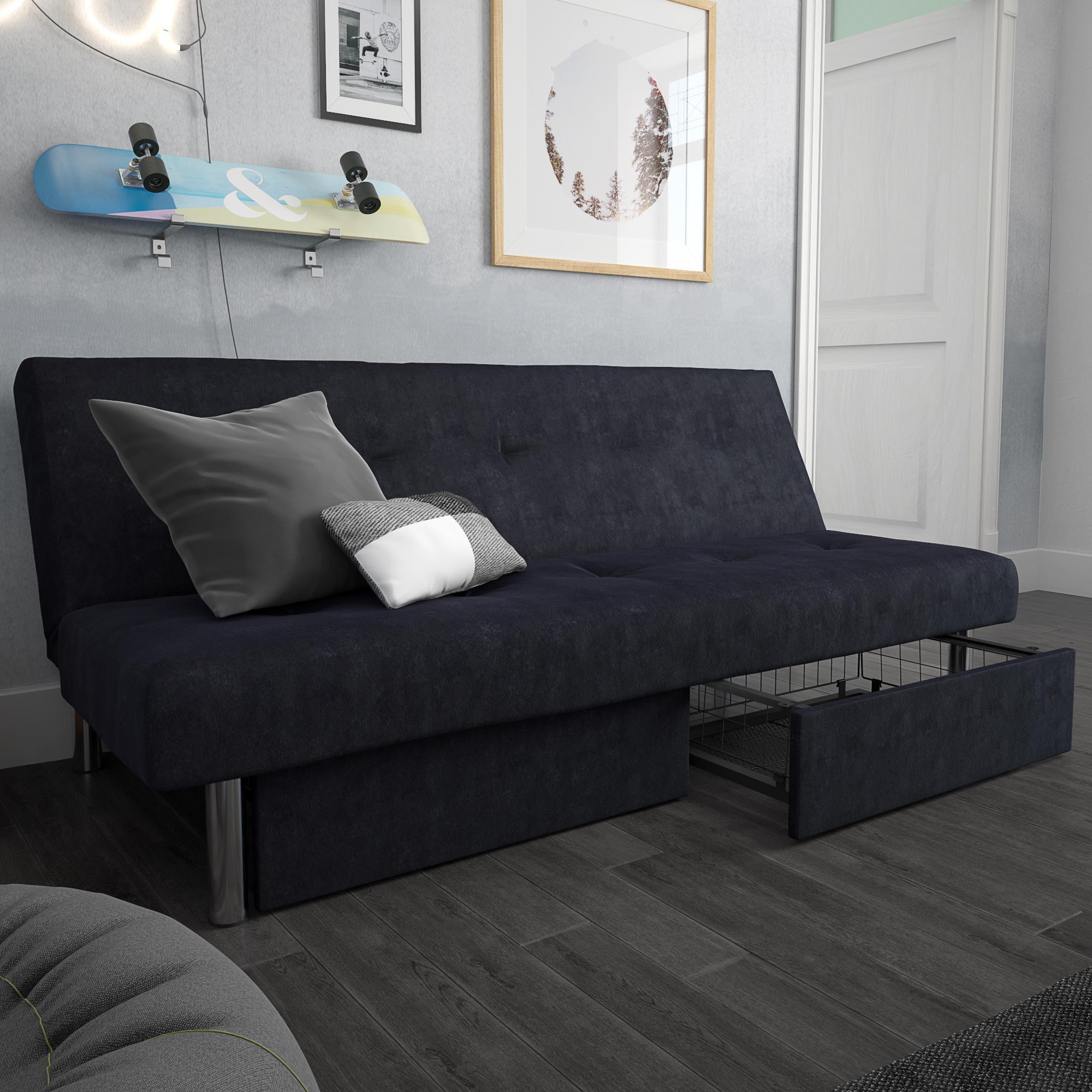 dhp sola storage futon blue microfiber
