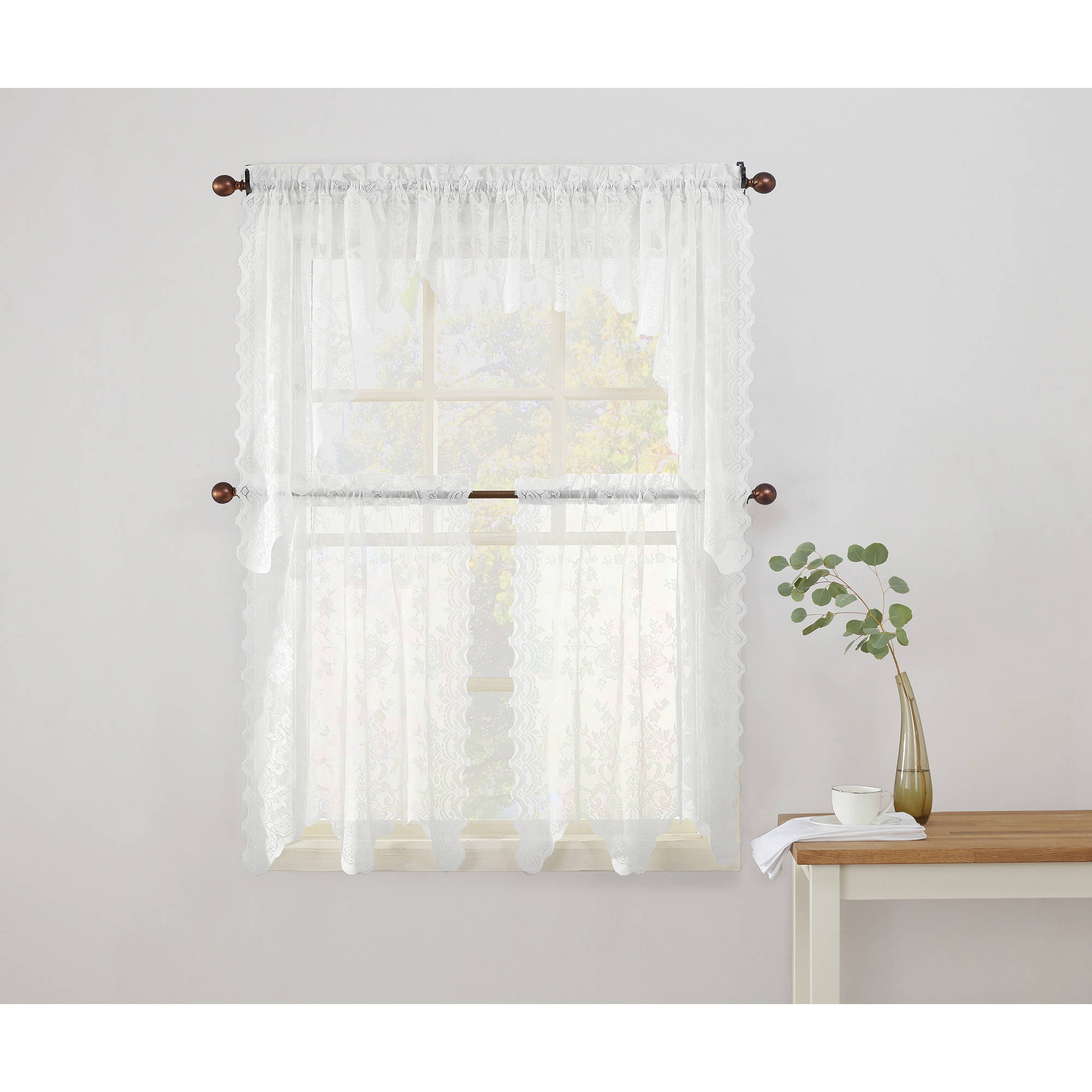 No 918 Alison Sheer Lace Kitchen Curtain Valance Tier Or Swag