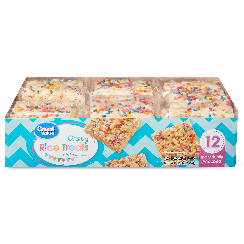 Great Value Birthday Cake Rice Crispy Treats 12 Count 12 Oz Walmart Com Walmart Com