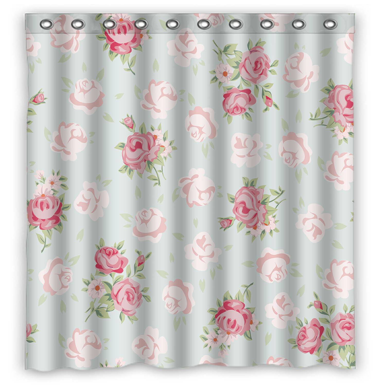 eczjnt floral vintage pattern shabby chic rose shower curtain bathroom waterproof home decor 66x72 inch walmart com
