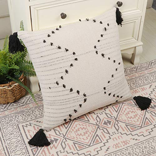 ailsan lumbar pillow cover neutral decorative collection throw accent tribal woven cotton tassel pillow case for home party car office and farmhouse