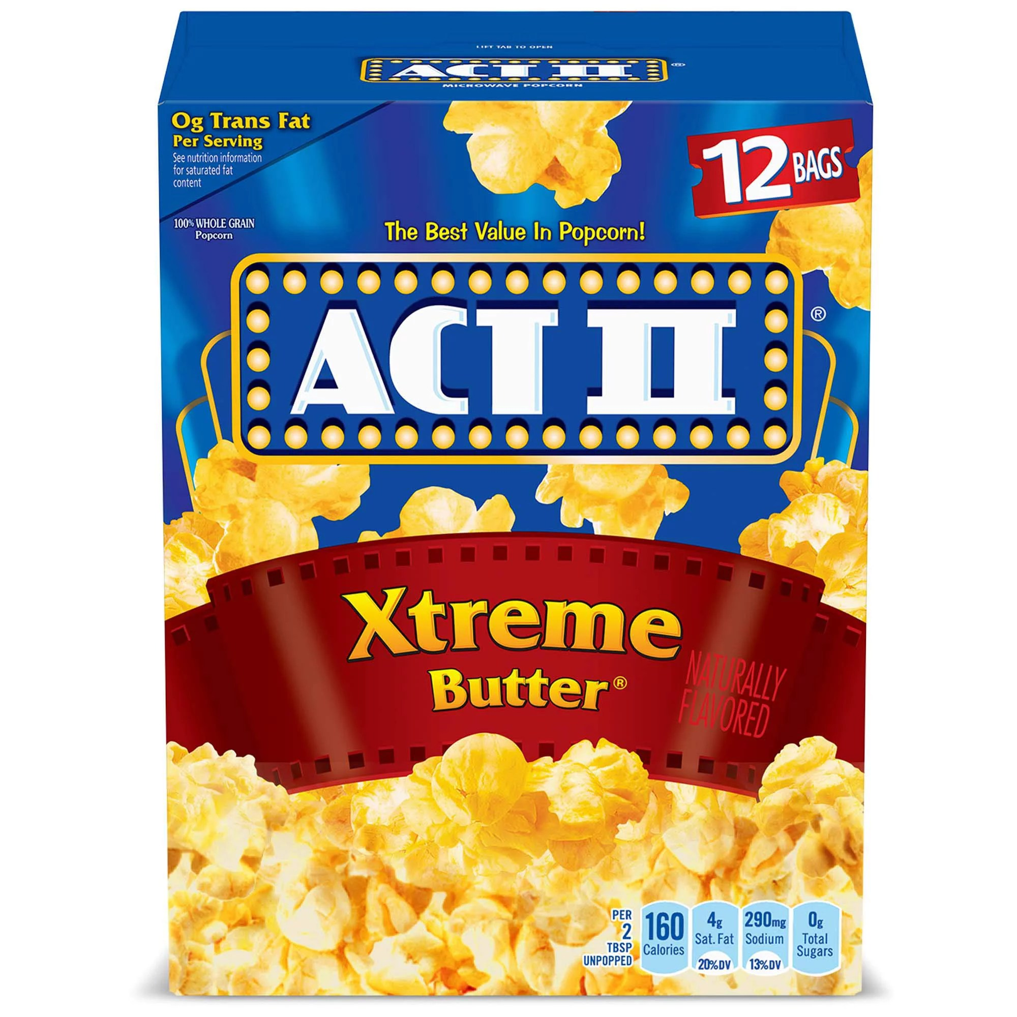 act ii xtreme butter microwave popcorn 2 75 oz 12 count walmart com