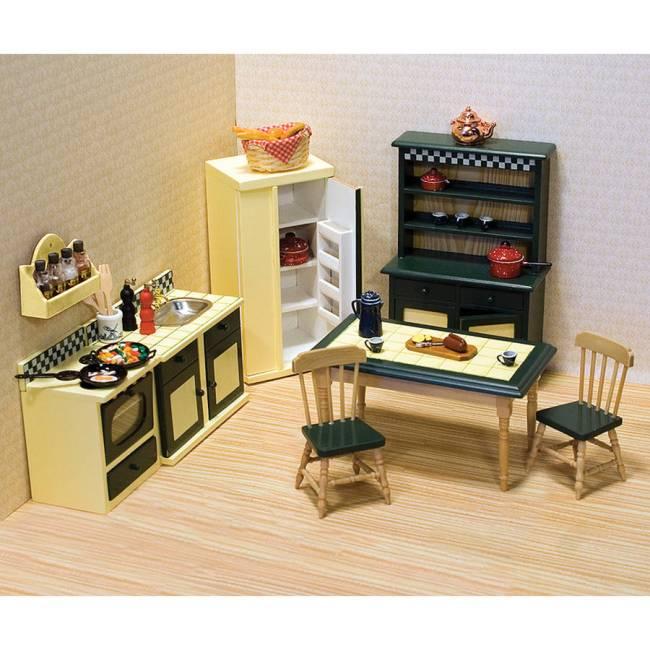 Melissa & Doug Classic Wooden Dollhouse Kitchen Furniture, 7pc, Buttery Yellow/Deep Green