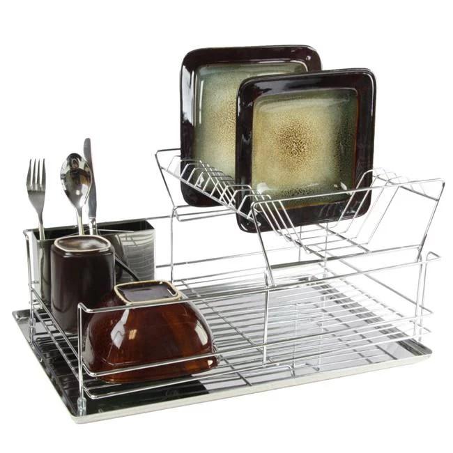 mega chef 15 5 inch stainless iron shelf dish rack