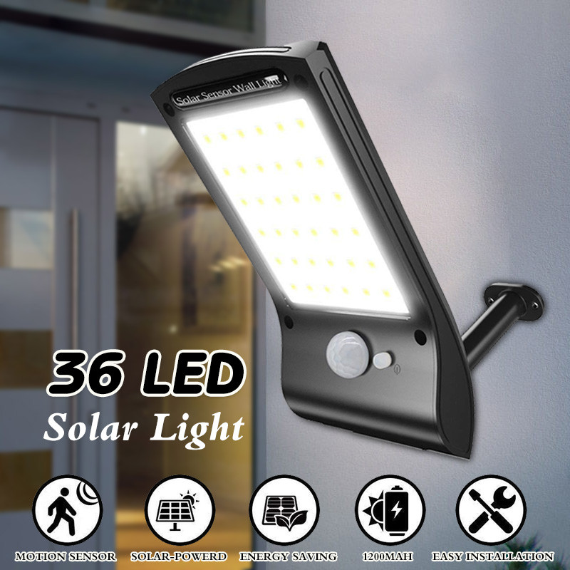 waterproof 36 led solar wall lights outdoor security solar powered motion sensor wall lamp sconces black with mounting pole for patio deck yard garden