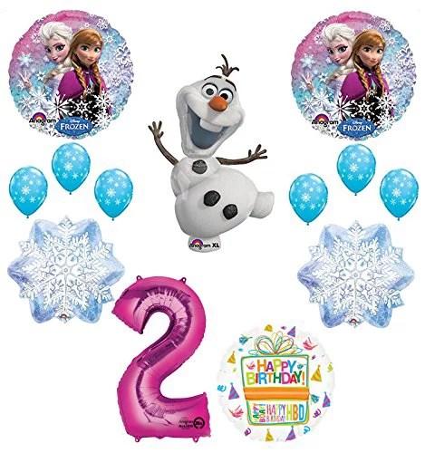 Frozen 2nd Birthday Party Supplies Olaf Elsa And Anna Balloon Bouquet Decorations Pink 2 Walmart Com Walmart Com