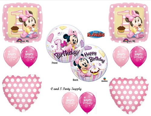 New Baby Minnie Mouse Birthday 1st First Party Balloons Decorations Supplies Walmart Com Walmart Com