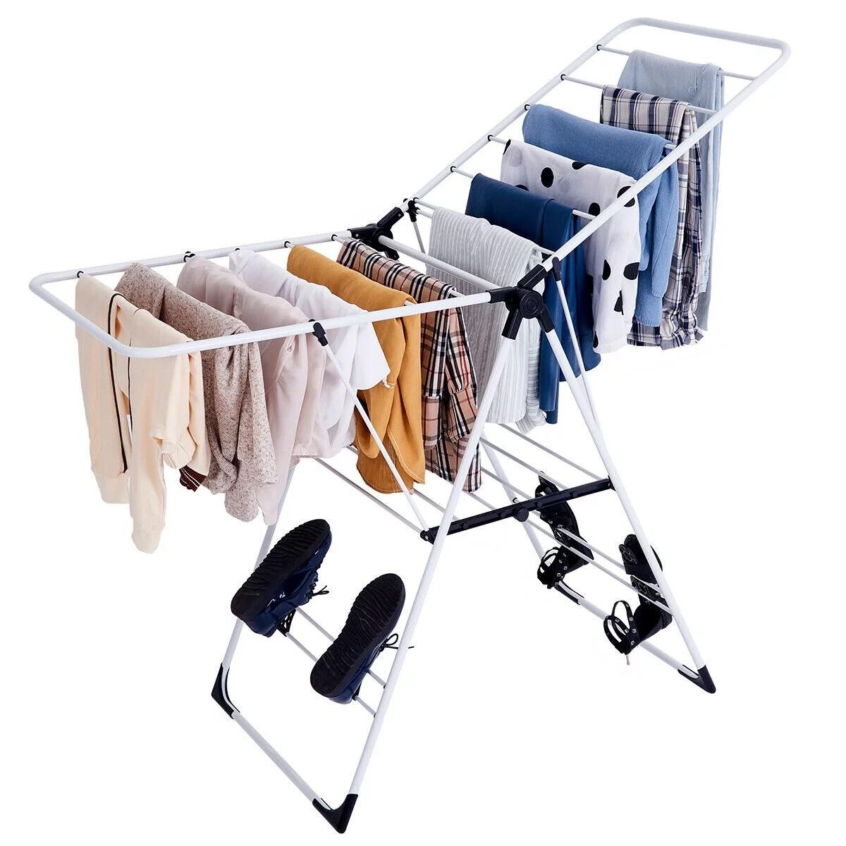 costway laundry clothes storage drying rack portable folding dryer hanger heavy duty walmart com