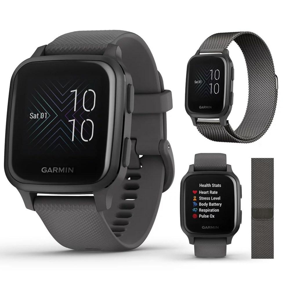 Garmin Venu Sq Fitness GPS Smartwatch (Shadow Gray/Slate) Bundle with Extra Metal Band (Milanese Dark Gray)