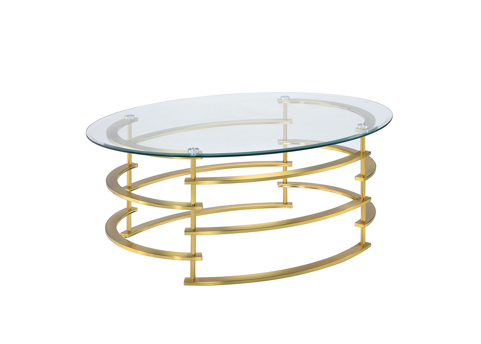 furniture of america clonmel glass top coffee table with spiral gold finish base