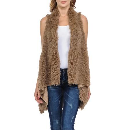 c8407fdba1 ... Women s 100% Warm Faux Fur Long Vest Gilet Fluffy Cardigan