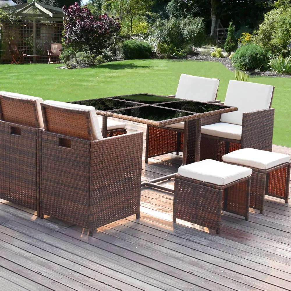 walnew 9 pieces patio dining sets outdoor furniture patio wicker rattan chairs and tempered glass table sectional set conversation set cushioned with