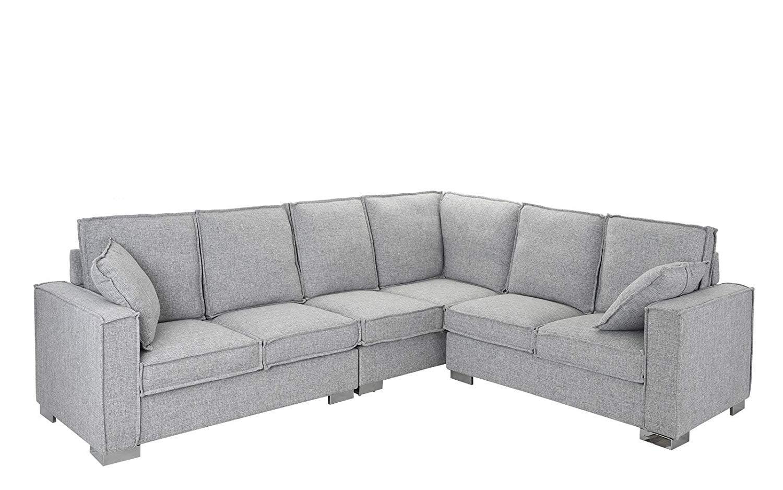 large living room fabric l shape sectional sofa light grey