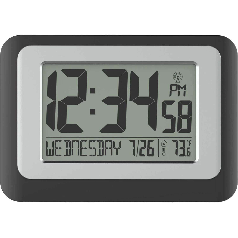 Digital Atomic Calendar Clock Indoor Temperature Time Date