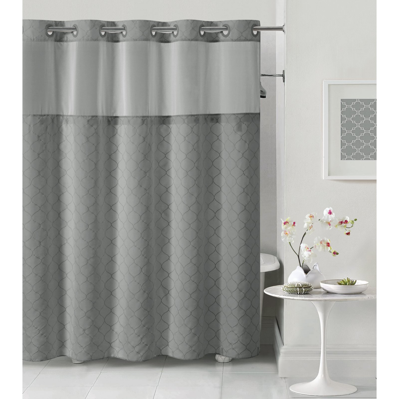 hookless dark gray mosaic polyester shower curtain walmart com