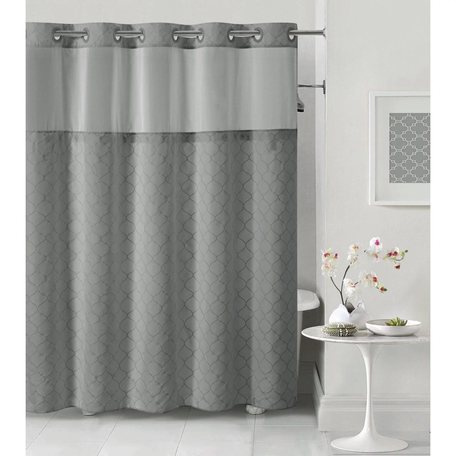 hookless dark gray mosaic polyester shower curtain