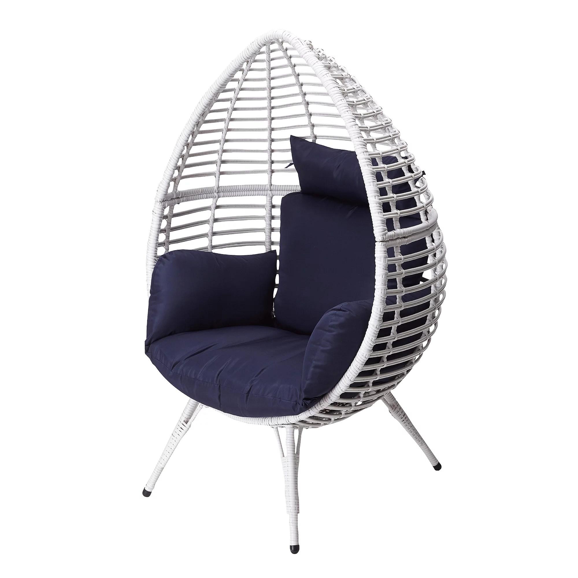peaktop patio wicker egg chair white