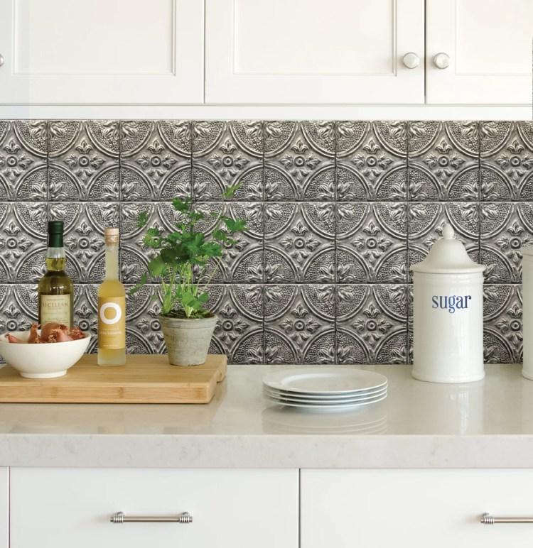 Inhome Restored Tile Silver Peel Stick Backsplash Tiles Walmart Com Walmart Com