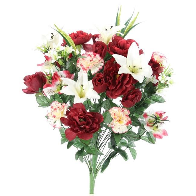 Admired By Nature Abn1b001 Bg Cm 40 Stems Artificial Full Blooming Lily 44 Rose Bud 44 Carnation Mum With Greenery Mixed Flower Burgundy Cream Walmart Canada