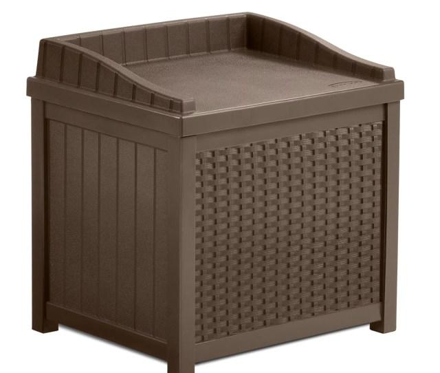 Suncast 22 Gallon Java Resin Wicker Small Storage Seat Deck Box Ssw1200 Walmart Com