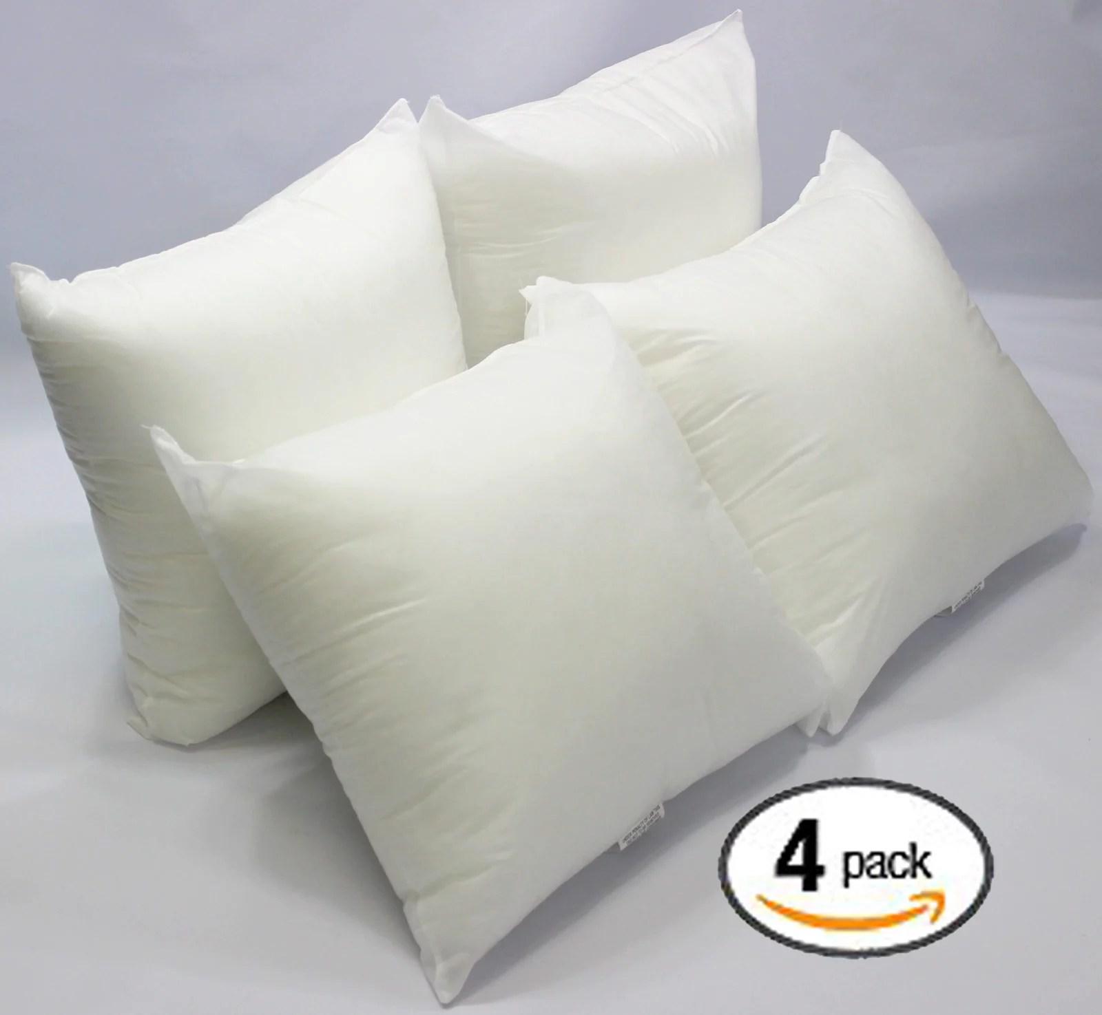 set of 4 18 x 18 premium hypoallergenic stuffer pillow insert sham square form polyester standard white made in usa walmart com