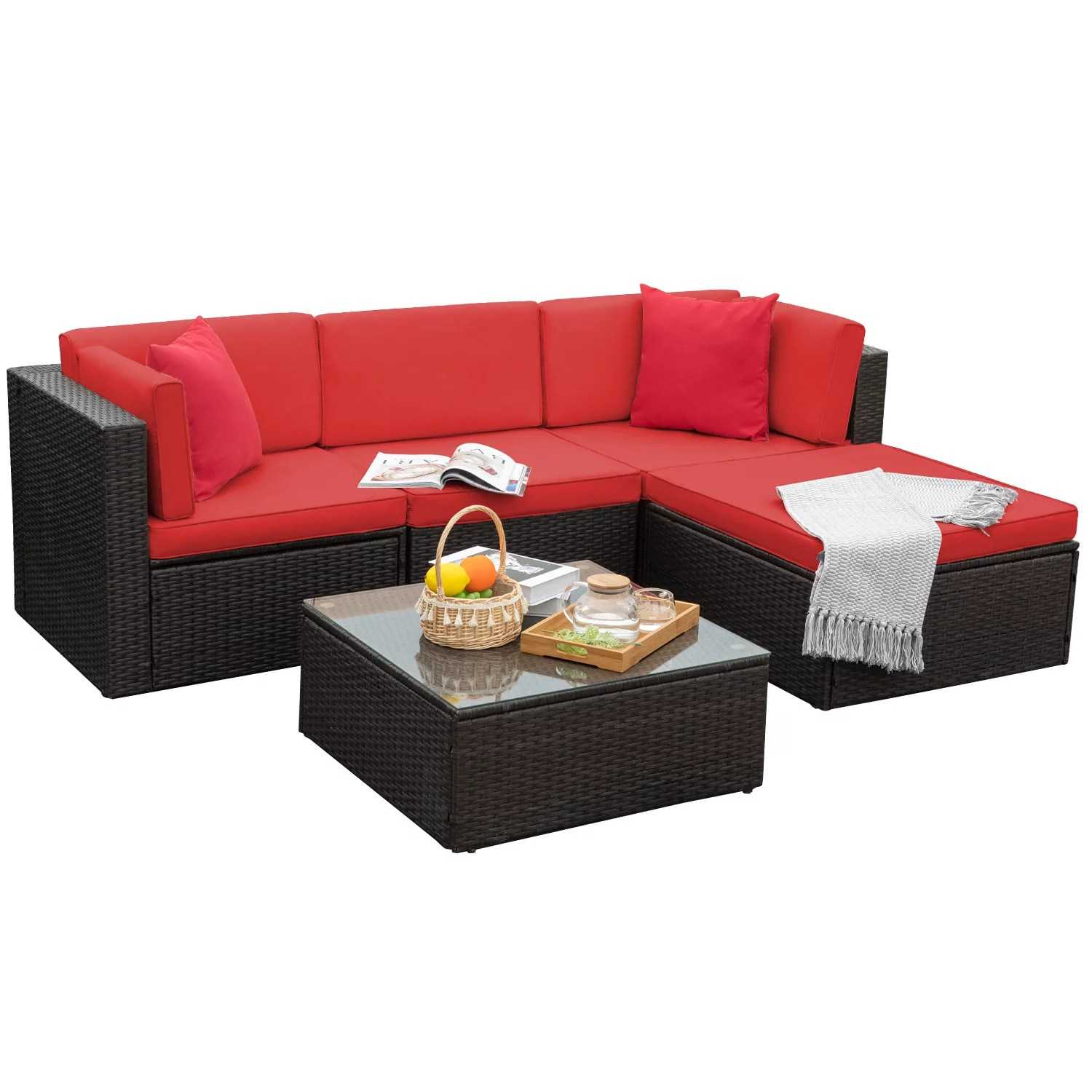 walnew 5 pieces outdoor patio sectional sofa sets all weather pe rattan conversation sets with glass table red walmart com