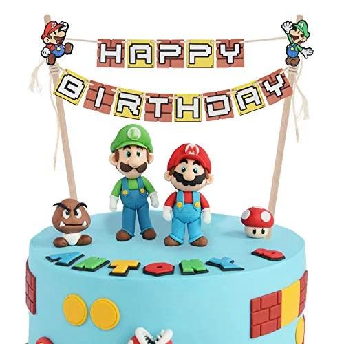 Lingteer Super Mario Bros Happy Birthday Cake Bunting Banner Topper Perfect For Kids Birthday Party Decorations Walmart Com Walmart Com