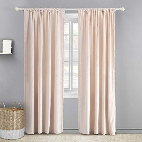 levtex baby blush velvet drape panel window panel with rod pocket one curtain panel 84 inch length blush pink 100 polyester lined