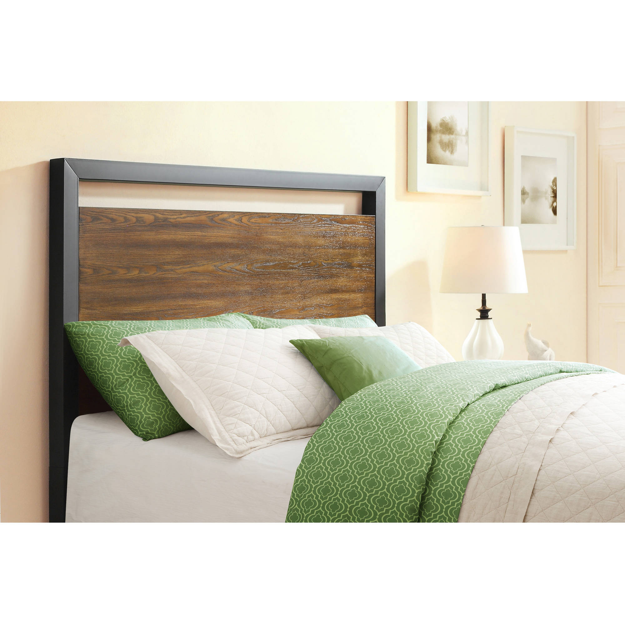 better homes gardens mercer full queen headboard vintage oak finish walmart com