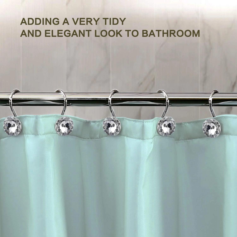walfront shower curtain hooks 12pcs clear decorative crystal rhinestone diamond shape shower rings rolling curtain round hooks bathroom decorative