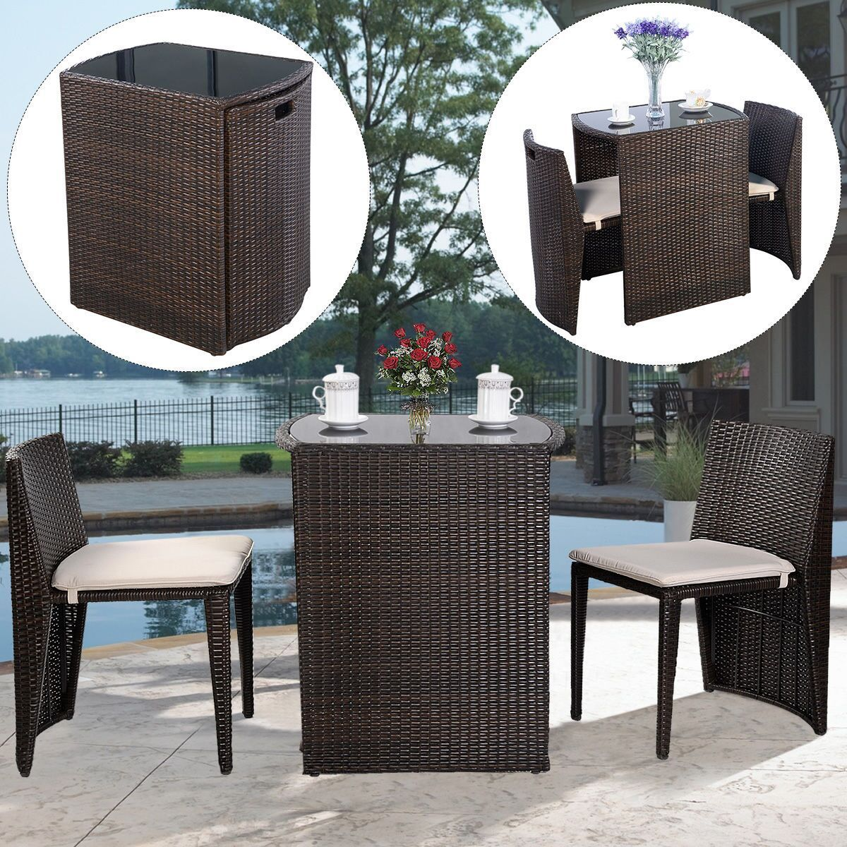 costway wicker 3 piece small space outdoor bistro set with cushions brown