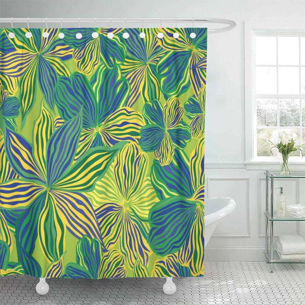 ksadk blue 1960s floral yellow flowers 70s shower curtain bathroom curtain 60x72 inch