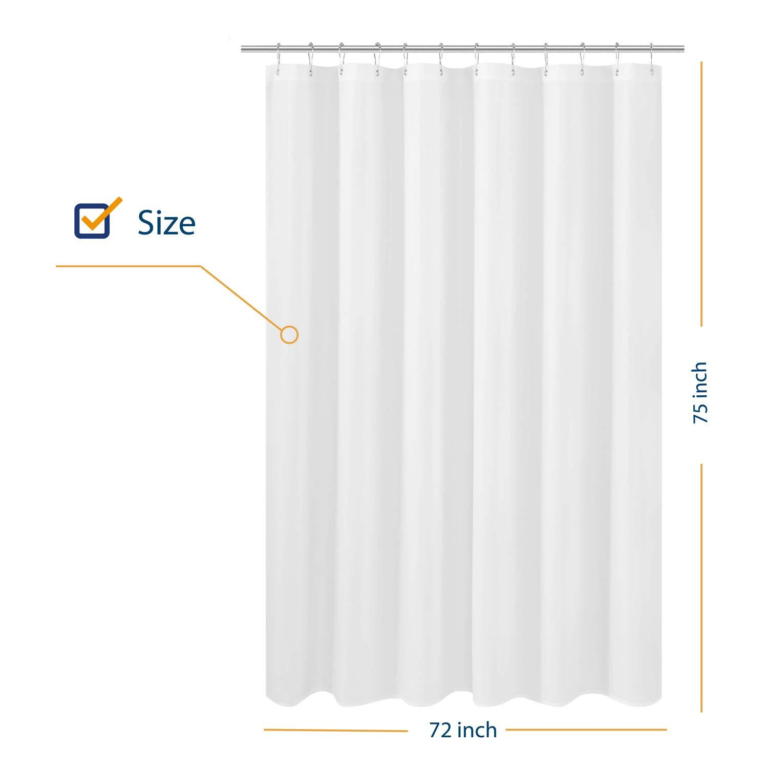 n y home longer shower curtain liner fabric 72 x 75 inches hotel quality washable white spa bathroom curtains with grommets 72x75 72 x75